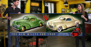 1940 Willys Dealer Garage Banner Hot Rod Hemi Gasser Passenger Car Coupe