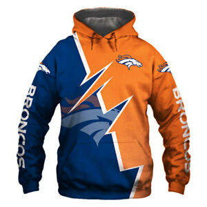 Denver Broncos Hoodie Hooded Pullover Sweatshirt S-5XL Football Team Fans Gifts