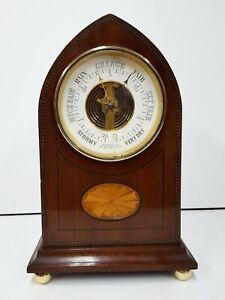 Unusual Antique Edwardian shelf / desk barometer. Inlaid case