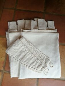 """Pair of Tab Top Ivory Cream Curtains 100% Cotton 48"""" x 64"""" & matching Tie backs"""