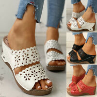 ❤️Women Peep Toe Hollow Out Sandals Summer Wedge Heel Sliders Slip On Shoes Size