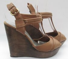 4757f436b174 French Connection size 7 (40) tan leather high heel sandal wedges