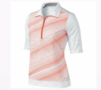 Nike Golf Tour Stripe Half Zip Mock Shirt Women Size Medium Orange White