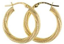 9CT YELLOW GOLD 37X3MM SATIN TWIST TUBE HOOP CREOLE ROUND GYSPY PIERCED EARRINGS
