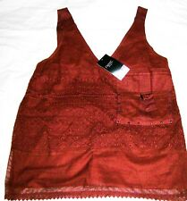 NEXT Pocket Vest Textured Camisole Top Rust Cotton Blend Size 12 Nes