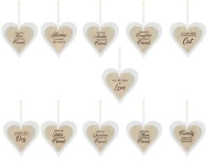 Wooden Heart Door Hanging Sign Wall Plaques Home Family Love Sentiment Gift