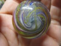 "1.372"" OLD ANTIQUE HANDMADE EOC DRIZZLE RIBBON CORE MARBLE  RARE"