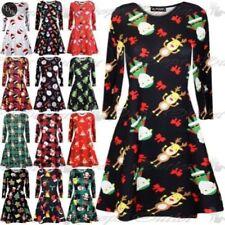 Christmas Polyester Long Sleeve Dresses for Women