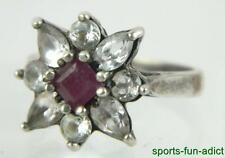 CA Hallmarked Sterling Silver Crystal Red Stone Floral Cluster Ring Sz 6.5