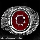 LDN_Bague Rubis Rouge Sang Saphirs blanc_Argent 925_T55