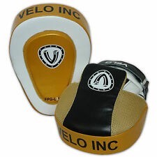 VELO Leather Curved Focus Pads Hook & Jab Mitts Kick Boxing MMA Strike Punch Bag