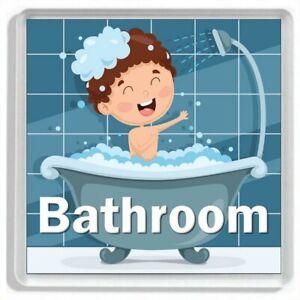 """""""BOY TAKING A BATH"""" Novelty Acrylic Bathroom Door Sign"""