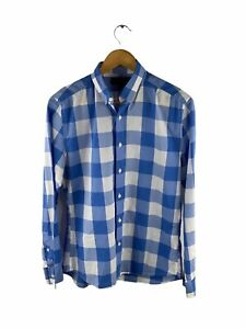 Witchery Man Button Up Shirt Mens Size S Blue White Check Long Sleeve Collared