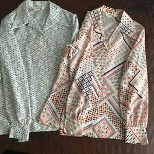 Vintage Lady Arrow Women's Polyester Blouse Lot of Two Button Down Wide Collar