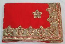 Bollywood Sequin & Kundan Work Indian Saree Designer Sari Bridal Party Dress
