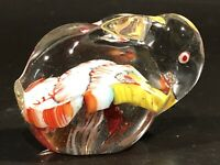 "Rabbit Bunny Paperweight Easter Murano Style Millefiori Confetti Colors 3"" x 2"""