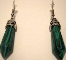 Earrings Gemstone Genuine Malachite Point Green Black Hypoallergenic NWT L1041