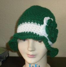 Green White WINTER  CLOCHE BEANIE CAP FLAPPER HAT  HAND CROCHET new