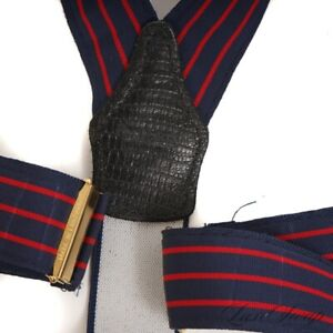 Paul Stuart Made in USA Navy Grosgrain Faille Triple Red Stripe Suspenders NR
