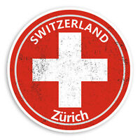2 x 10cm Zurich Vinyl Stickers - Switzerland Flag Sticker Laptop Luggage #20182