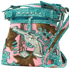 Pink-Turquoise Mossy Camo Crystals Gun Full Size Cross Body Purse Bag