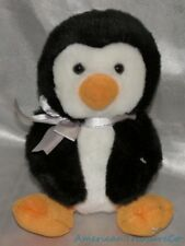 Retired Russ Plush Beanie Shining Stars Fluffy Tubby Baby Penguin w/Silver Bow