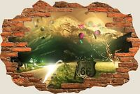 3D Hole in Wall Fantasy Mountains Route 66 View Wall Stickers Decal Mural 817
