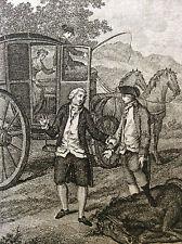 Rousseau Confessions gravure le carrosse Bonet graveur De Launnay France