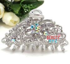 NEW Rhinestone Crystal Clip Hair Claw Hairpin Wedding Bridal Elegant Silver USA