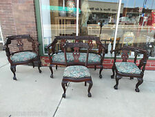 Antique Victorian wood carved  Settee & Chairs living room suite 4 pieces Horner