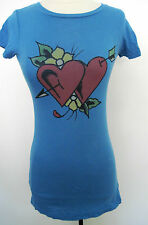 Ed Hardy By Christian Audigier Blue HEART Women's 100% Cotton Tunic, Top Size S