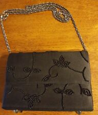 Black Beaded Evening Bag Clutch Chain Strap Kenneth Cole Reaction
