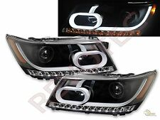 2009-2016 Dodge Journey LED Strip Plank Style Projector Headlights Black