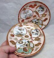 2 Vintage hand painted Japanese fine porcelain saucers