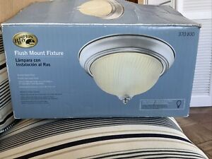 Ceiling LIght Flush Mount 2 Bulb Brushed Nickel Fixture Frosted Glass Dome