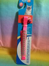New listing Aspen Nylon Safety Cat Kitten Collar Neon Pink w/ Rhinestones & Bell