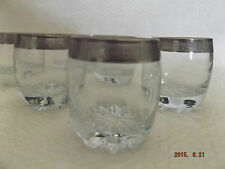 BEAUTIFUL SMALL GLASSES WITH SILVER GREEK KEY DESIGN EDGING