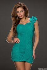 Träger Minikleid Abendkleid Kleid Cocktailkleid Blüte gerafft Türkis 34 36 38