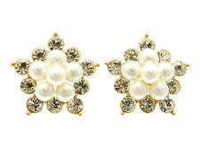 Contemporary GP Crystal & Pearl Flower Cluster Post Stud Earrings