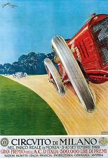 Arte cartel Milano Milán coche carrera 1922 Italia italiano Deco de impresión