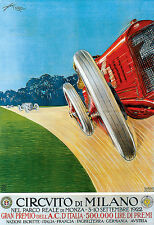 Art Poster Milano Milan Car Race 1922 Italy Italian Deco  Print