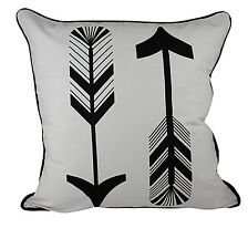 One Duck Two Arrows Cotton Cushion Cover 45 x 45 white and black