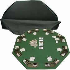 Deluxe Solid Wood Poker And Blackjack Table Top With Case 8 Players Green New