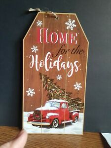 Red Pickup Truck Christmas Home For The Holidays Wall Hanging