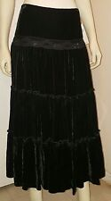 NWT $100 BLACK VELVET SKIRT goth gothic punk ruffle sequins Full Length Size 10