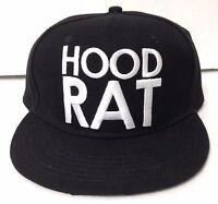 HOOD RAT SNAPBACK HAT Black&White Flat Bill/Brim Rap Hip Hop Funny Men/Women