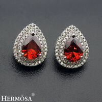 Natural AAA Genuine Red Garnet & White CZ Sterling 925 Silver Earrings