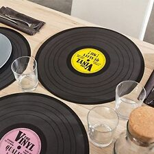 SET OF 4 VINYL RECORD RETRO DESIGN PLACEMATS /TABLE PLACE MAT/MATS-39CM DIAMETER