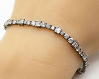 925 Sterling Silver - Vintage White Cubic Zirconia Tennis Bracelet - B3810
