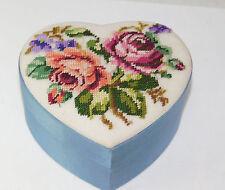 Vintage Hand Made Petit Point Floral Bouquet Heart Blue Satin Trinket Box